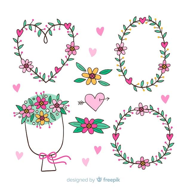 Couronnes et bouquets de fleurs pour la saint-valentin Vecteur gratuit