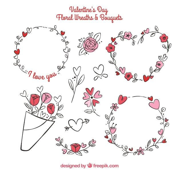 Couronnes et bouquets de fleurs de saint valentin dessinés à la main Vecteur gratuit
