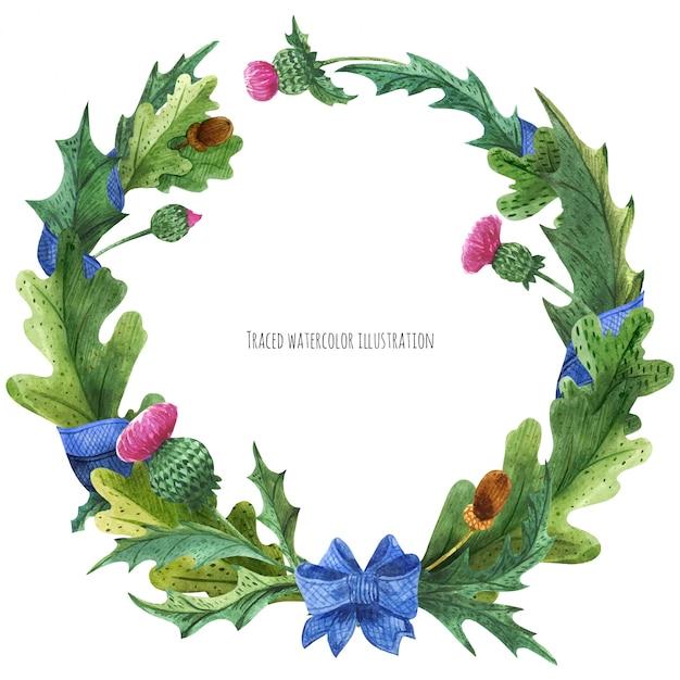 Couronnes de chardon et de feuilles de chêne avec ruban de soie bleue Vecteur Premium