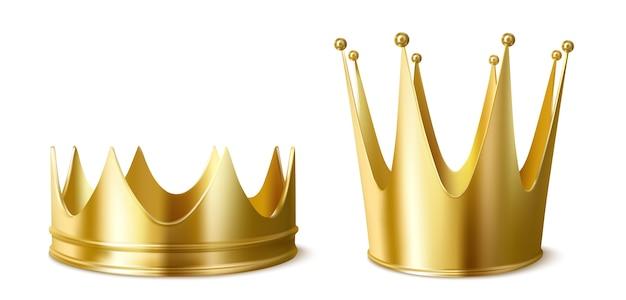 Couronnes Dorées Pour Roi Ou Reine, Coiffe Basse Et Haute Vecteur gratuit