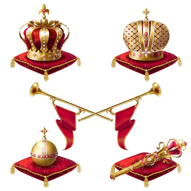 Couronnes royales, sceptre et orbe réalistes Vecteur gratuit