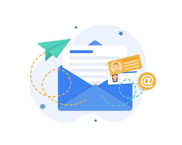 Courriel Et Messagerie, Campagne De Marketing Par Courriel Vecteur Premium