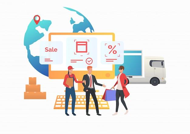 Courrier et agent de vente rencontre le consommateur Vecteur gratuit