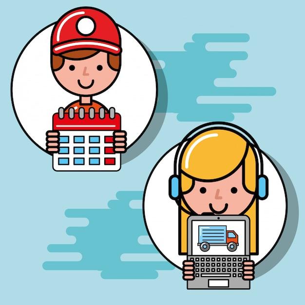 Courrier garçon et opérateur fille calendrier et ordinateur portable logistique et livraison Vecteur Premium