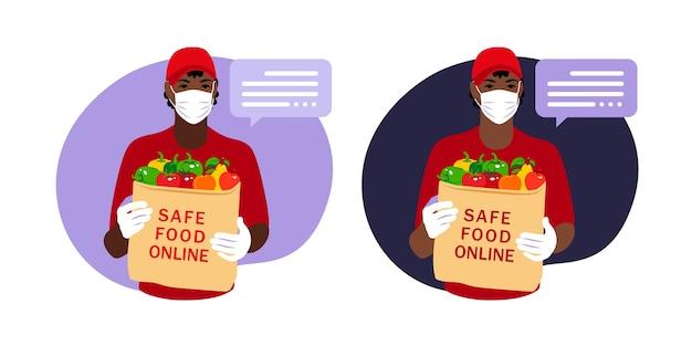 Courrier Livrant Une Commande D'épicerie Au Domicile Du Client Avec Un Masque Et Des Gants Pendant La Pandémie De Coronavirus Vecteur Premium