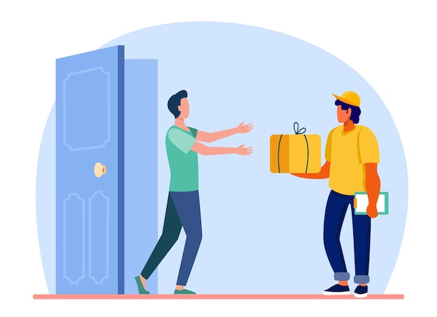 Courrier livrant la commande à la porte du client. homme obtenant colis, boîte, illustration vectorielle plane de paquet. facteur, expédition, service Vecteur gratuit