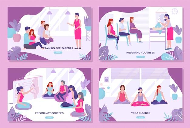 Cours De Grossesse, Formation Des Parents, Ensemble De Pages De Destination De Cours De Yoga. Vecteur Premium