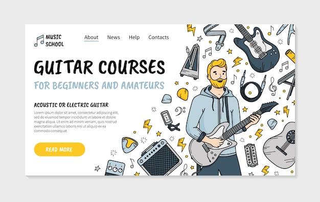 Cours De Guitare Dans La Page De Destination De L'école De Musique Dans Le Style Doodle Vecteur Premium