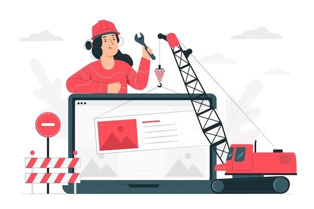 En Cours D'illustration De Concept De Construction Vecteur gratuit