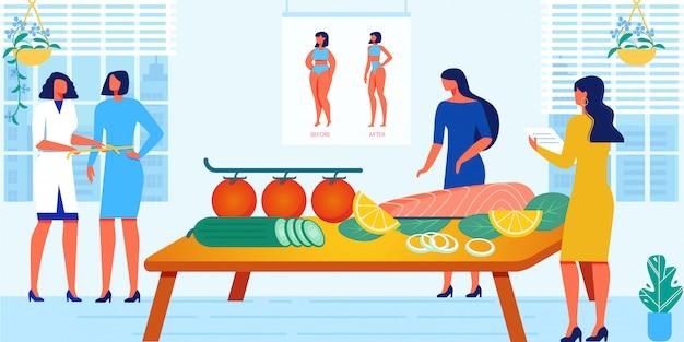 Cours pour femmes sur le régime alimentaire et le mode de vie sain Vecteur Premium