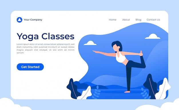 Cours de yoga, page de destination Vecteur Premium