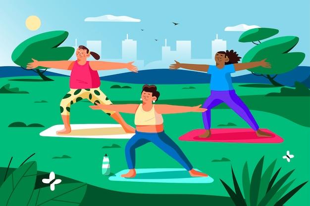 Cours De Yoga En Plein Air Vecteur gratuit