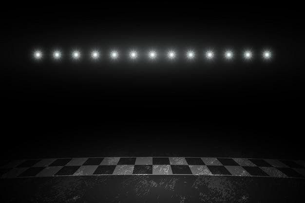 Course D'arrivée De La Piste De Course La Nuit Vecteur Premium