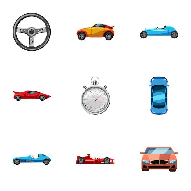 Course et attribution d'icônes, style cartoon Vecteur Premium