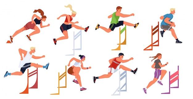 Course De Haies, Compétition De Saut Sportif Féminin, Masculin. Athlètes, Steeple, Course D'obstacles. Vecteur Premium
