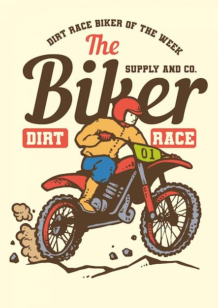 Course de motards de motocross rétro style vintage Vecteur Premium