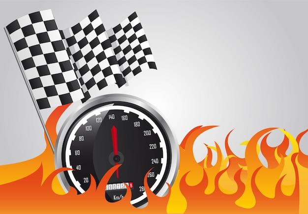 Course de vitesse avec feu et drapeaux à damier Vecteur Premium