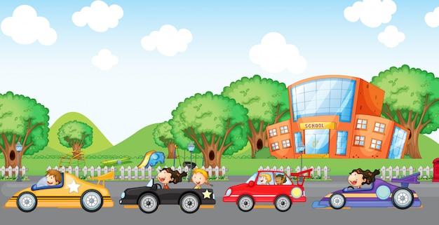 Course de voitures pour enfants Vecteur gratuit