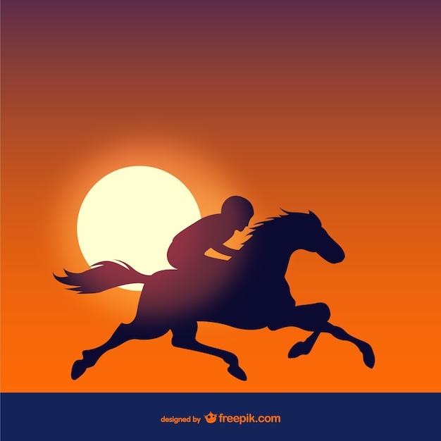 Les courses de chevaux au coucher du soleil Vecteur gratuit