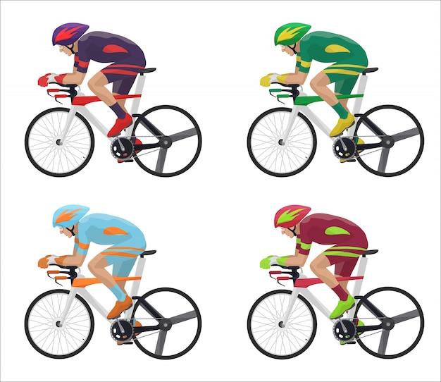 Courses cyclistes en action Vecteur Premium