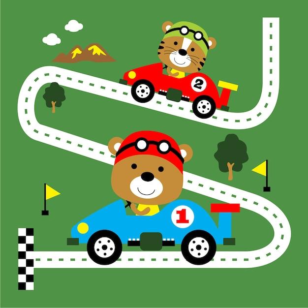 Courses de voitures, dessin animé animaux drôle, illustration vectorielle Vecteur Premium