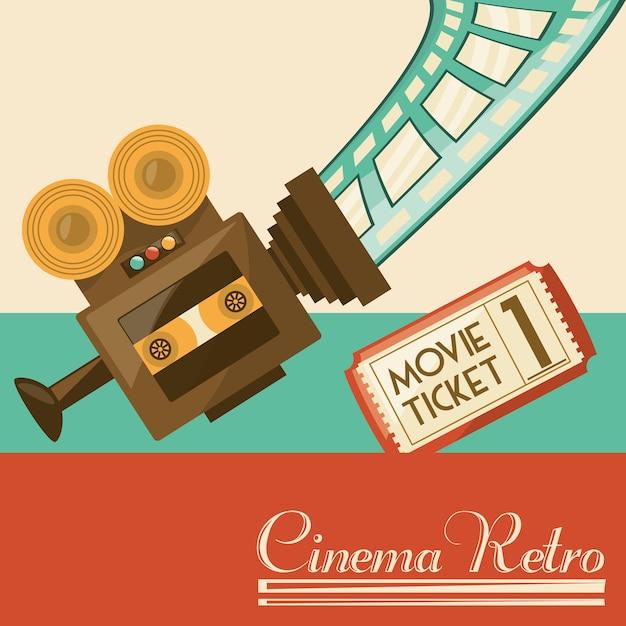 Court métrage de caméra vidéo rétro Vecteur Premium