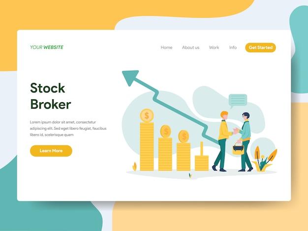 Courtier en actions pour la page web Vecteur Premium