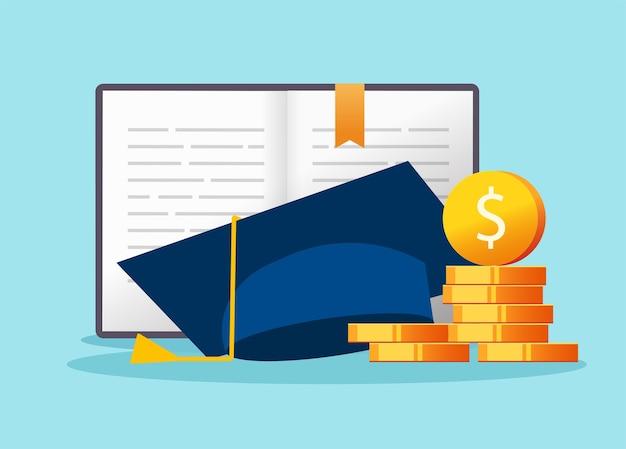 Coût Des études Supérieures, Concept De Crédit De Prêt D'argent Pour L'éducation, Frais Financiers Pour Les Frais De Scolarité Collégiaux Vecteur Premium