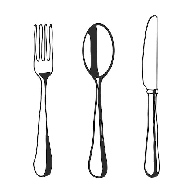 Couteau à fourche fourchette Vecteur gratuit