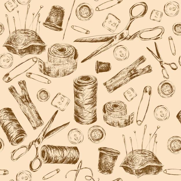 Couture croquis modèle sans couture avec thread bobine aiguille coussin ciseaux illustration vectorielle. Vecteur gratuit
