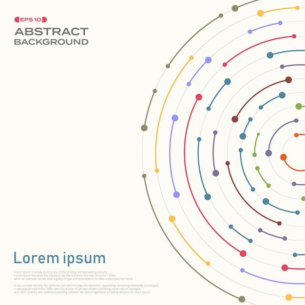 Couverture abstraite en ligne de rayures colorées en motif de cercle Vecteur Premium