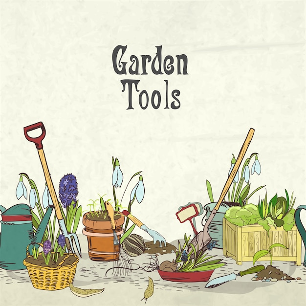 Couverture d'album d'outils de jardinage dessinés à la main Vecteur gratuit