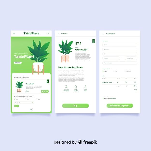 Couverture de l'application mobile plat Vecteur gratuit