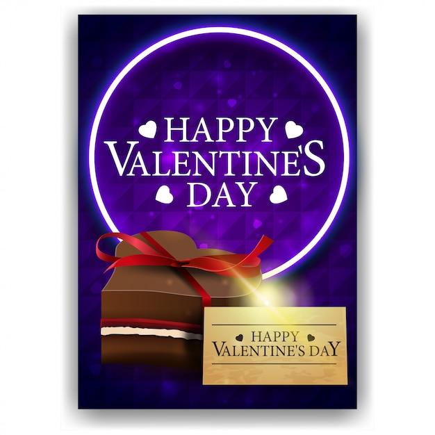 Couverture bleue de la saint-valentin avec des bonbons au chocolat Vecteur Premium