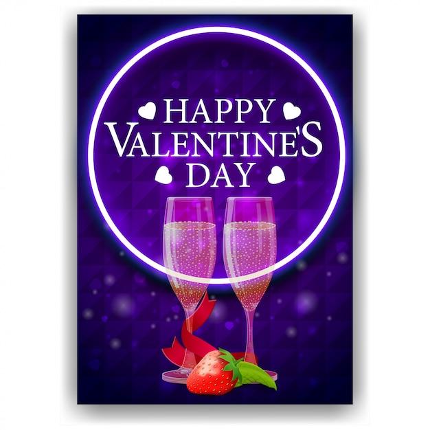Couverture bleue de la saint-valentin avec des coupes de champagne Vecteur Premium