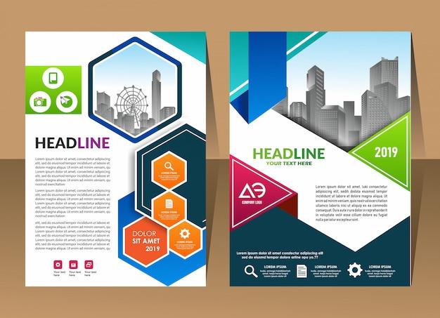 Couverture de la brochure entreprise abstrait rapport annuel modèle conception entreprise Vecteur Premium