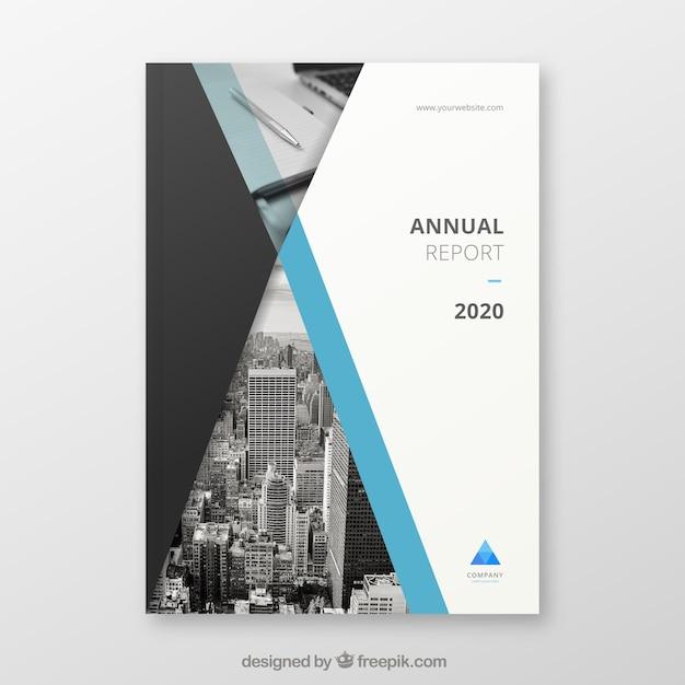 Couverture du rapport annuel créatif avec image Vecteur gratuit