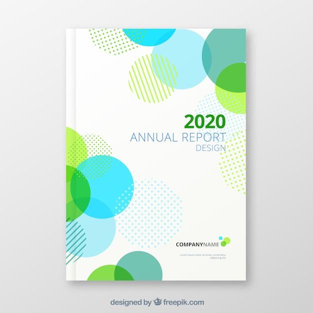 Couverture du rapport annuel avec des formes circulaires Vecteur gratuit
