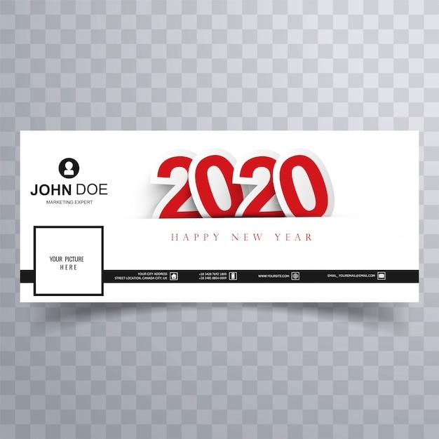 Couverture Facebook Happy New Year 2020 Vecteur gratuit