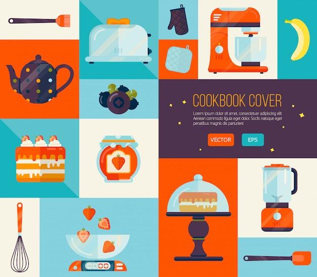 Couverture de livre de cuisine aux couleurs vives. Vecteur Premium