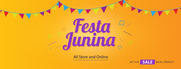 Couverture des médias sociaux du festival festa junina Vecteur Premium