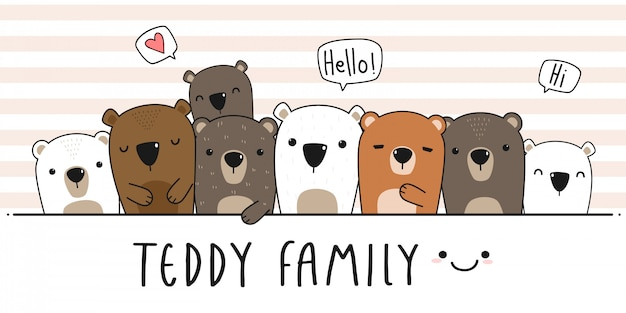 Couverture de papier peint mignon nounours familial dessin animé doodle Vecteur Premium