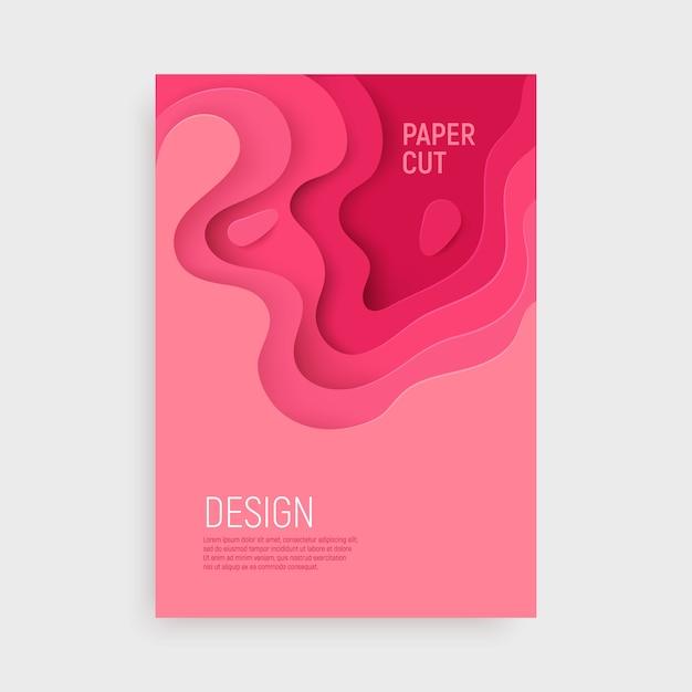 Couverture en papier rose avec fond abstrait en slime 3d et couches d'ondes roses. Vecteur Premium