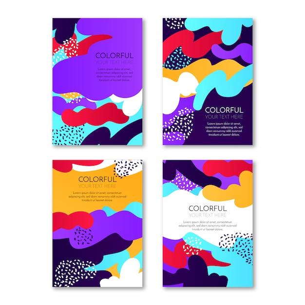 Couvertures abstraites colorées Vecteur gratuit