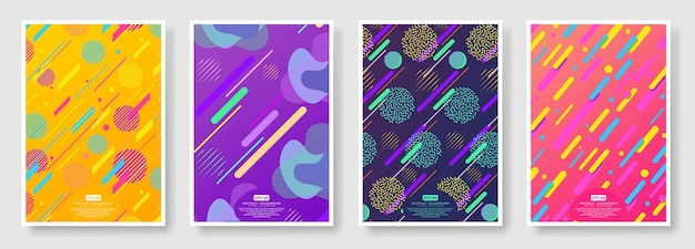Couvertures abstraites sur fond transparent disponibles dans le panneau nuancier Vecteur Premium