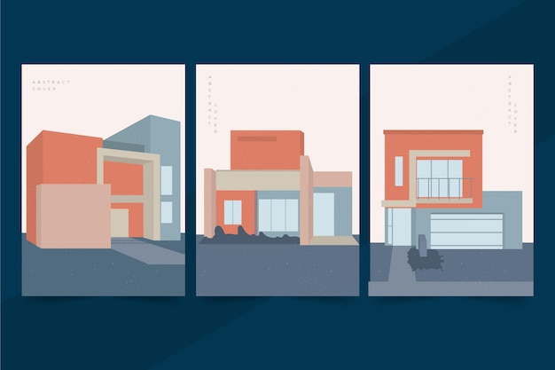 Couvertures D'architecture De Modèle Minimal Vecteur gratuit