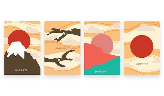 Couvertures Japonaises Colorées Minimales Vecteur gratuit