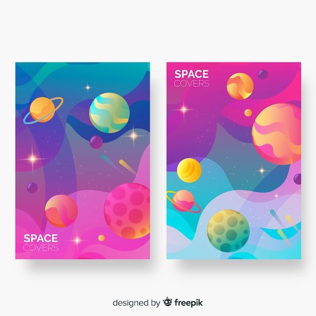 Couvertures spatiales colorées abstraites Vecteur gratuit