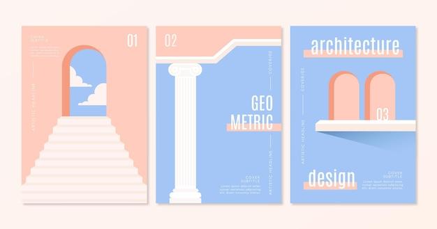 Couvre Un Ensemble D'architecture Minimale Vecteur gratuit