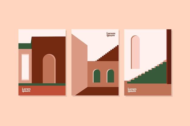 Couvre Le Pack De Modèles D'architecture Minimale Vecteur gratuit
